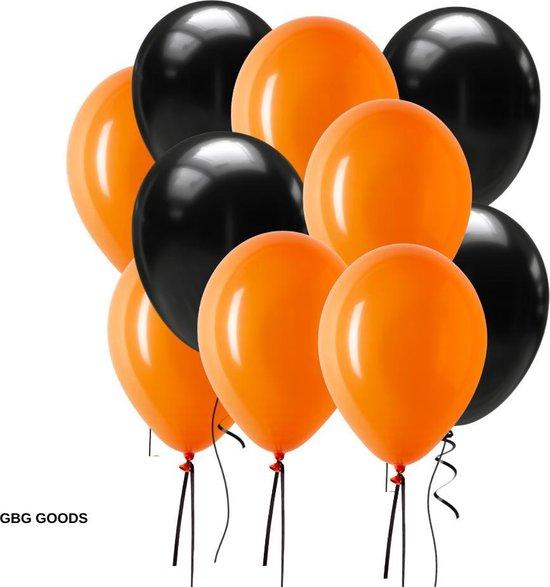 GBG 20 stuks Halloween Oranje Zwart Ballonnen – Decoratie – Feestversiering - Halloween – Orange - Feest