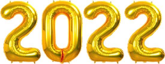 Folie Ballon Cijfer 2022 Oud En Nieuw Feest Versiering Happy New Year Ballonnen Decoratie Goud 36Cm Met Rietje