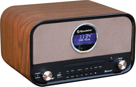 Roadstar HRA-1782D Retro Radio met Bluetooth, DAB+ en CD Speler - Bruin