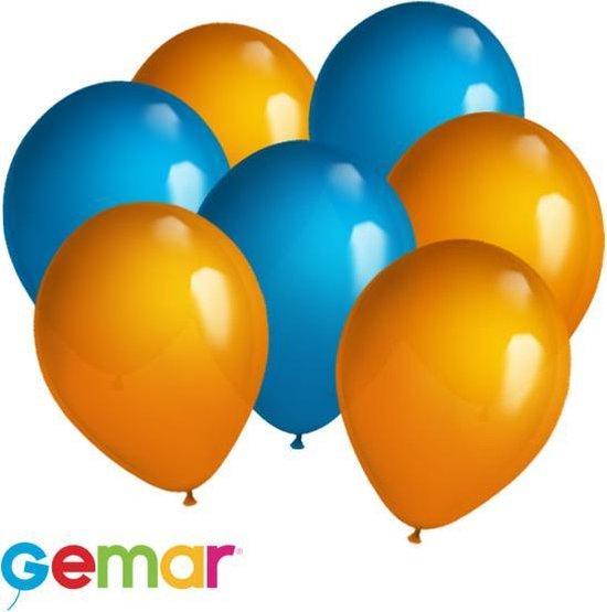 30 ballonnen Oranje en Blauw (Ook geschikt voor Helium)