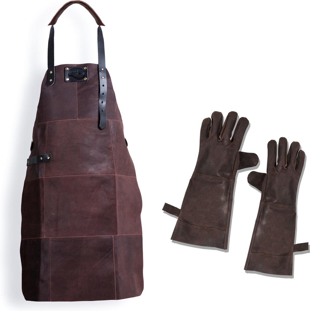 Barbecue Leren Schort + Barbecue Handschoenen - DONKER BRUIN - Lederen Schort - Kokschort - BBQ Scho
