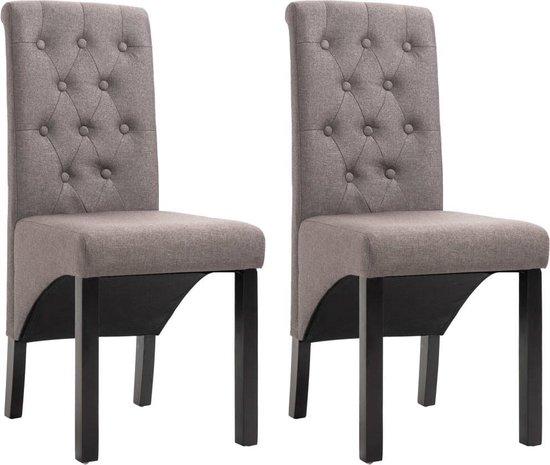 Eetkamerstoelen met Knopen Stof Taupe 2 STUKS Eetkamer stoelen Extra stoelen voor huiskamer Dineerstoelen Tafelstoelen Barstoelen