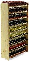 Wijnrek van grenenhout met plek voor 63 flessen 118x72x27cm (LxBxD)   Wijnrek met 9 planken á 7 flessen   Hoogwaardig en stijlvol grenenhout   Duurzame wijnkast   Houten wijnkast