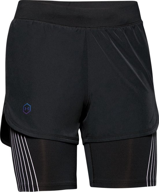Under Armour W Rush Run 2-In-1 Short Dames Hardloopbroek - Maat S - Black