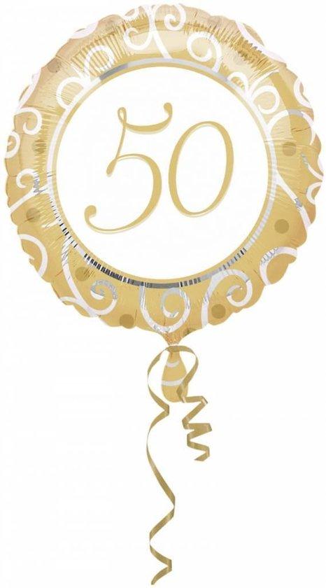 Folieballon - 50 Jaar - Goud - 43cm - Zonder vulling