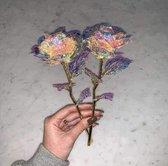 24k Galaxy Roos - Incl. Decoratie Doos - Gouden Rose - Valentijn Cadeautje Vrouw  - Valentijnsdag Cadeautjes Voor Haar - Cadeautip