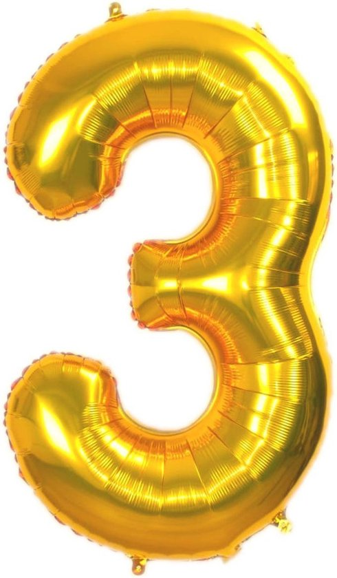 Folie Ballon Cijfer 3 Jaar Goud 86Cm Verjaardag Folieballon Met Rietje