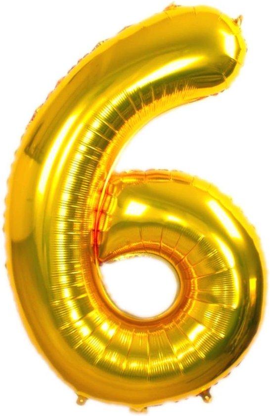 Folie Ballon Cijfer 6 Jaar Goud 86Cm Verjaardag Folieballon Met Rietje