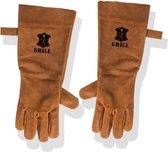 Leren Handschoenen Barbecue Licht Bruin / Cognac | BBQ Lederen Handschoen | Hittebestendige BBQ & Oven handschoenen – Extra groot voor betere bescherming | Gevoerd |