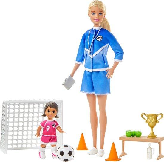 Barbie Voetbalcoach Poppen en Speelset - Barbiepop