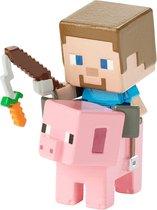 Mattel - Minecraft Figure - Steve On Saddled Pig