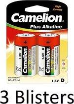 6 Stuks (3 Blisters a 2 st) Camelion Plus Alkaline D Cell Batterij