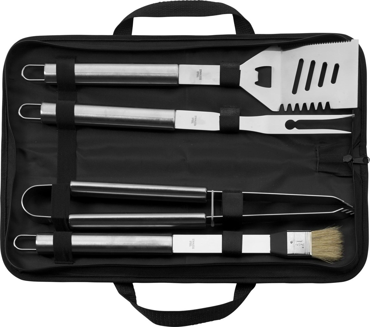4-Delige ( RVS )  Complete BBQ accessoires set - Zomer Topper  Barbecue Tang, Barbecue Invetter, Bbq
