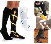 Duopack Compressiekousen / Steunkousen - Elastische Hardloop / Sport / Vliegtuig Compressie Sokken - Running Travel Sock - Reissokken / Reis Kousen - Heren/Dames 2 Paar - Maat 36-40 - Zwart