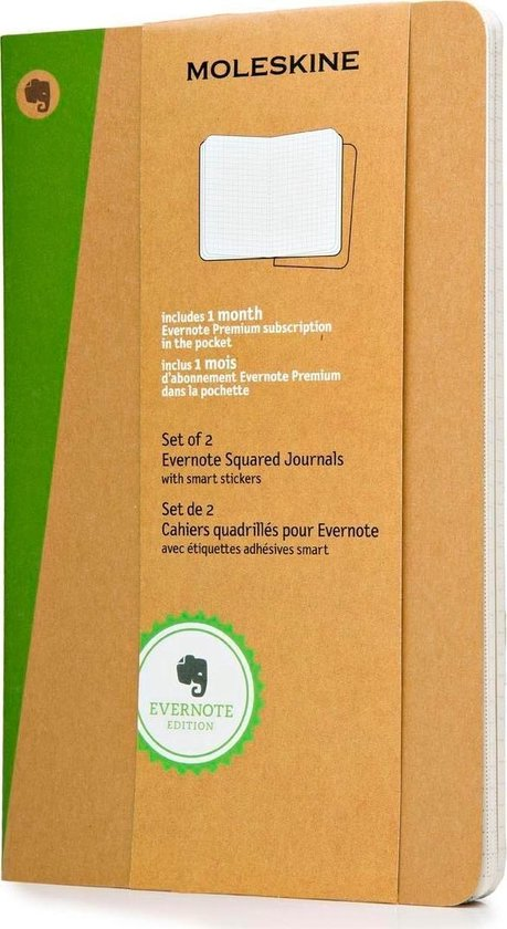 Bol Com Evernote Moleskine Notitieboek Met Smart Stickers Soft Cover Large Ruiten Set Van 2