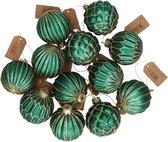 12x Emerald groene glazen kerstballen met gouden decoratie 6 cm - Kerstboom versiering/decoratie - Kerstballen glas emerald groen 12x