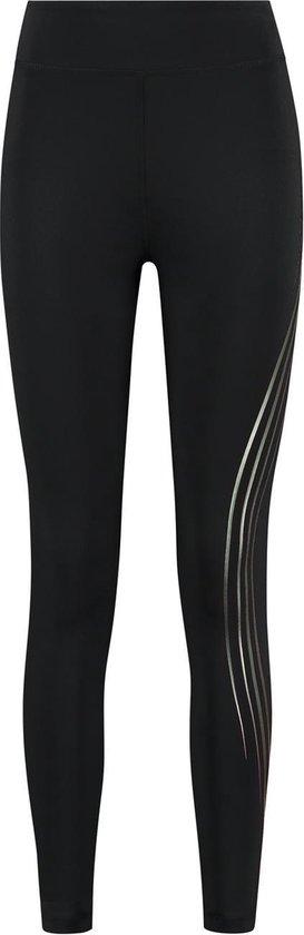 Redmax Dames training tight met metallic zijprint zwart/ groen - XL