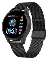NIEUW Belesy® Q9 - Smartwatch - horloge - zwart - staal. Groot kleurenscherm 1,3 inch - stappenteller - bloeddrukmeter - calorieen.