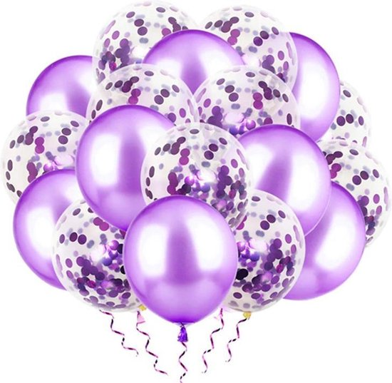 Luxe confetti ballonnen paars 20 stuks Helium ballonnenset