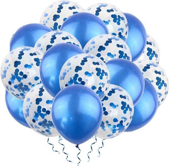 Luxe confetti ballonnen|blauw/blauw|20 stuks|Helium ballonnenset