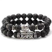 AWEMOZ® Natuursteen Boeddha Armbanden - Boedha Kralen Armbandjes - Buddha - Zwart