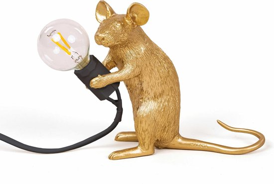 Seletti - Mouse lamp mac-gold sitting black cable