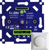 Professionele universele LED Dimmer – Fase aansnijding en Fase Afsnijding (RLC) – 0-450W, Druk-draai schakelaar – 100% stil – EcoDim