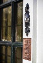 NEE Geen collectes, verkopers of geloofsovertuigers sticker - Koper - 45 x 70mm - Vintage antiek look