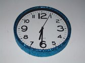 Glitter klok Blauw/Wit 30 cm