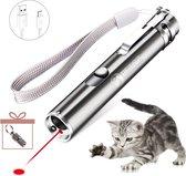 PETSZ Laser - Katten - Speeltje - USB - Speelgoed - Kat - Laserlampje - Laserpointer - Laserpen - LED - RVS - Zilver