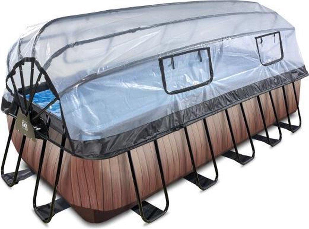 EXIT Wood zwembad 540x250x122cm met overkapping en filterpomp - bruin