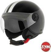 SYM-scooter-motor-jet-helm-glans zwart-m
