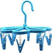 Droogcarrousel blauw - 10 wasknijpers - wasrek / droogrek spin hangend