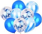 30 st. Luxe Set Ballonnen Blauw Marmer Confetti - Verjaardag Versiering - Geboorte - Bruiloft Decoratie - Feest Ballon Set - Blauwe Feestversiering - Gender Reveal Party - Babyshower - Kinderfeest - Ballonnenset - Verjaardag Jongen