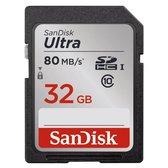 SanDisk Ultra SDHC Kaart 32GB - 80MB/s - Class10