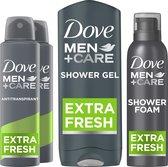 Dove Men+Care Extra Fresh Geschenkset - Antitranspirant Deodorant, Douchegel en Doucheschuim - Voordeelverpakking