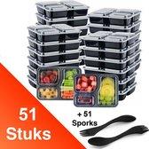 Facile® Meal Prep Bakjes 3 compartimenten - 51 stuks – GRATIS 51 SPORKS – Meal Prep Bakjes Sporks – Mealpreppen - Vershouddoos met deksel - Mealprep Containers – Vershouddoos – Vershoudbakjes - Diepvriesbakjes –  Magnetron bakjes met deksel - 1000ML
