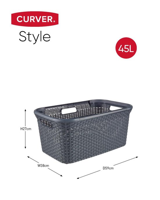 Curver Style Wasmand - 45L - Antraciet