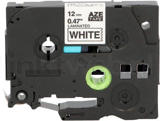 FLWR - Printetiket / TZe-231 / Zwart op Wit - geschikt voor Brother
