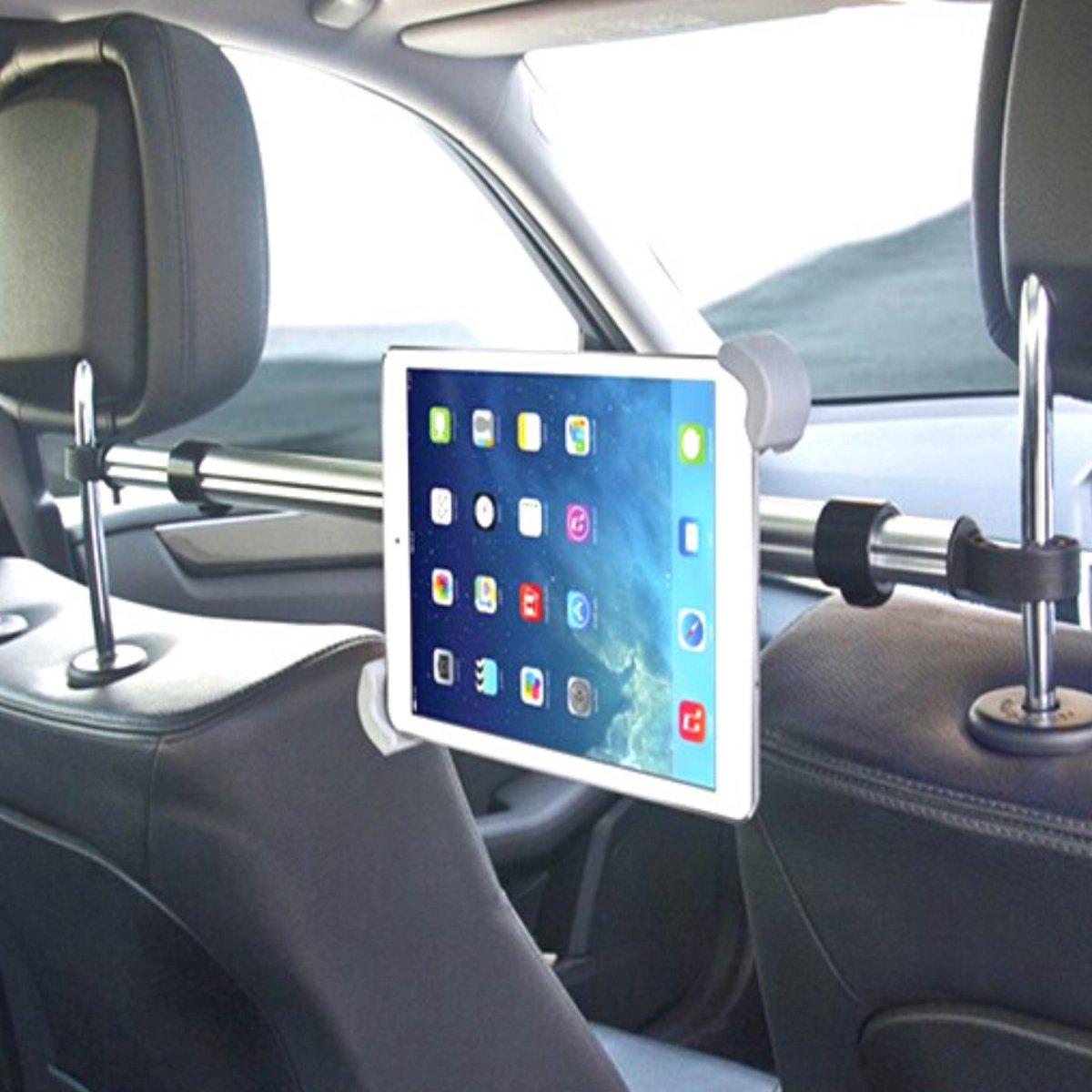 Tablet Houder Auto Hoofdsteun New 2020 - Ipad Houder - Universeel - Midden - Uitschuifbaar - Draaibaar - Samsung Galaxy Tab - Flexibel - 7 Tot 10.5 Inch - Autovakantie - Aluminum - Zonder Gereedschap - Leuk Voor Kinderen - Veilige en Leuke rit