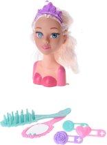 Free And Easy Kaphoofd Blond Haar Met Accessoires 17 Cm Roze
