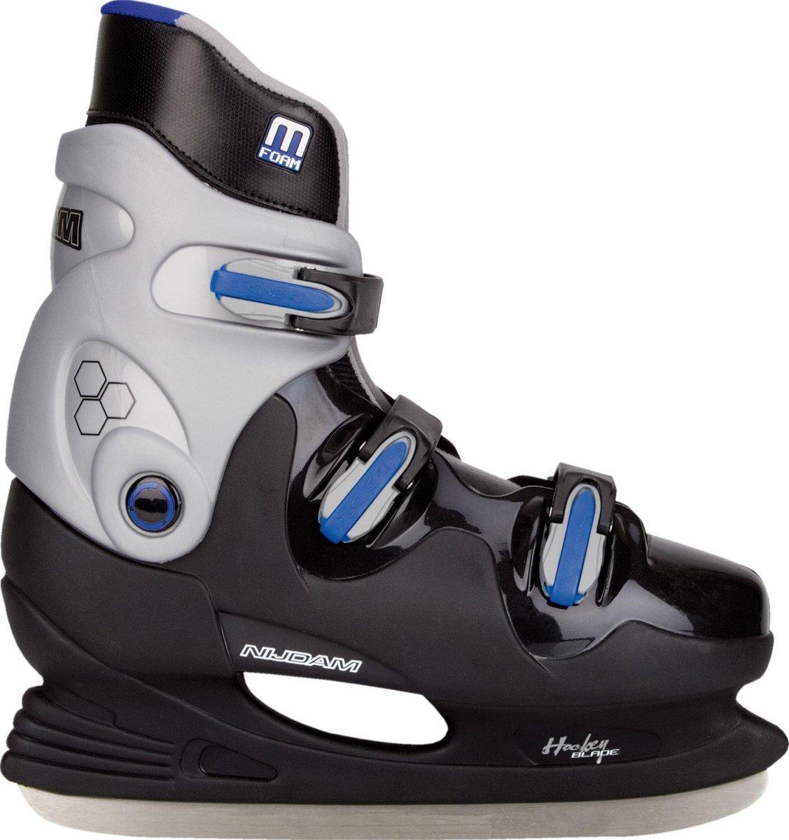 Nijdam IJshockeyschaats - Hardboot - Zwart/Blauw - Maat 45
