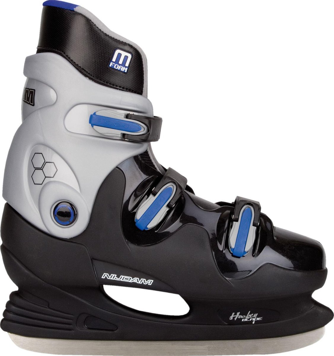 Nijdam IJshockeyschaats - Hardboot - Zwart/Blauw - Maat 38