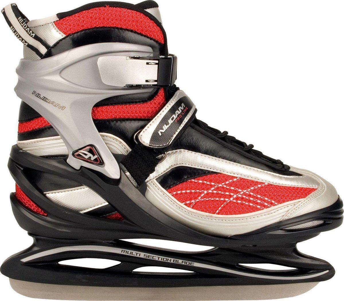 Nijdam IJshockeyschaats Pro-Line - Semi-Softboot - Zwart/Zilver/Rood - 39