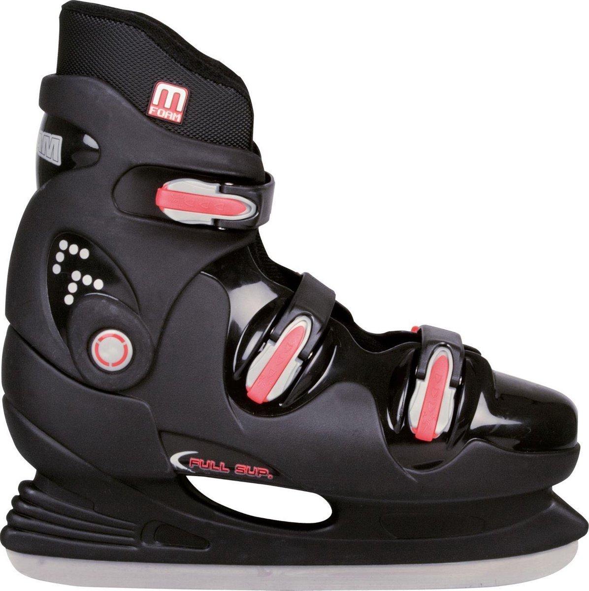 Nijdam IJshockeyschaats - Hardboot - Zwart/Zilver/Rood - 39