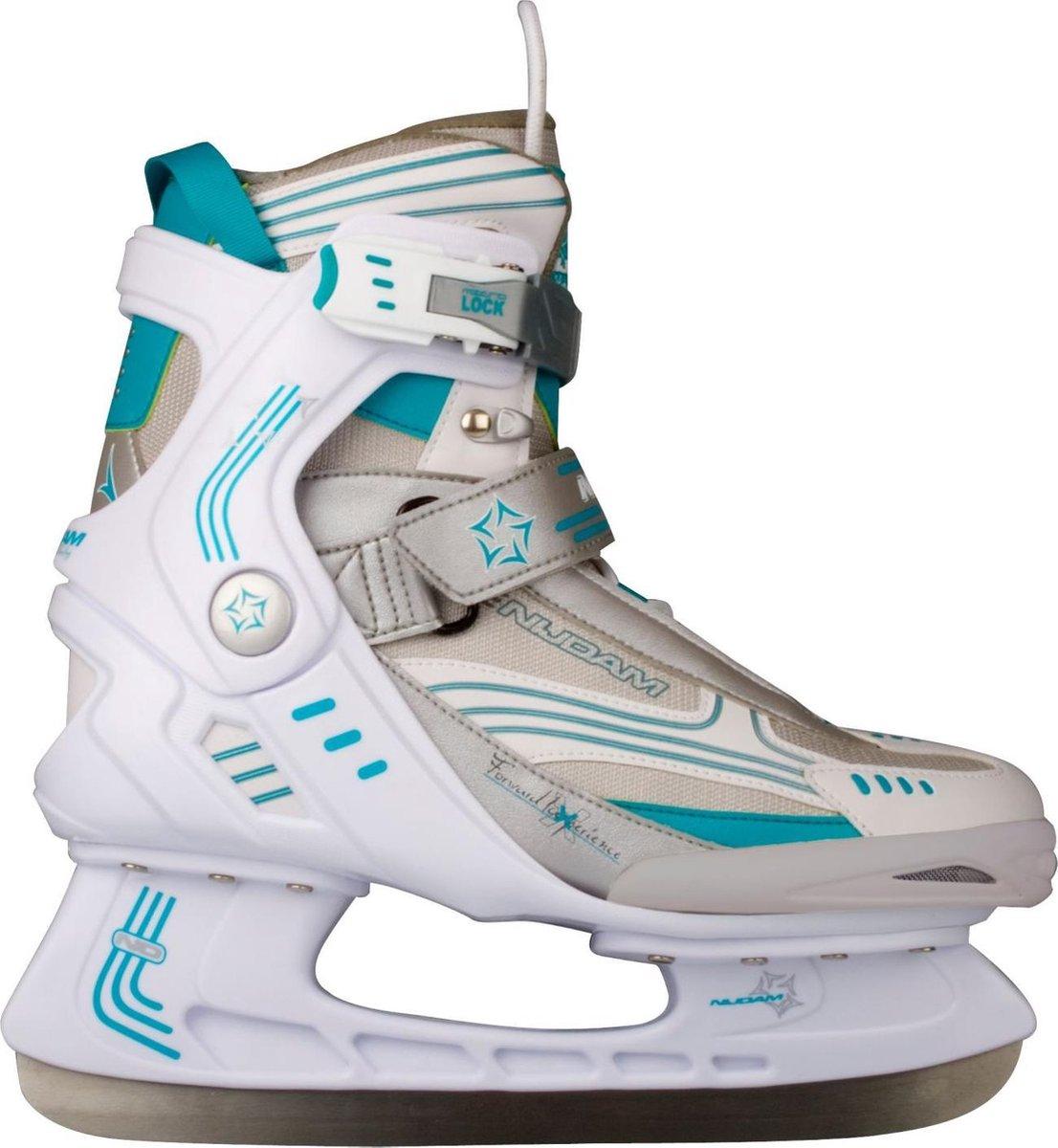 Nijdam 3353 Ijshockeyschaats - Semi-Softboot - Wit/Turquoise - Maat 40