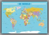 Poster Kaart Wereld XL - Nederlandstalig - 140x100 cm - Multi