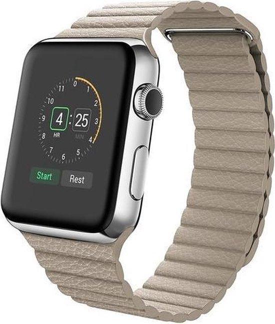 By Qubix Kunstleren bandje - Apple Watch Series 1/2/3/4 (42&44mm) - Licht bruin
