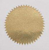Goudkleurige sluitzegel, label goud of sticker goud | rond 46mm met sterrand, 100 stuks in gripzakje