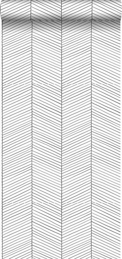 ESTAhome behangpapier visgraat-motief zwart wit - 139106